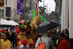 Chinese New Year In The Rain (Derbyshire Harrier) Tags: city winter colour wet rain sheffield parade crowds damp chinesedragon chinesenewyearparade southyorkshire 2016 themoor chineseyearofthemonkey sheffieldchineseassociation sheffieldchineseschool