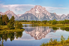 High Summer on Oxbow Bend (f0rbe5) Tags: usa mountain reflection river landscape nationalpark scenery view scenic snakeriver 1997 wyoming mountmoran iconic grandteton wy grandtetonnationalpark oxbowbend highsummer breathtakinglandscapes
