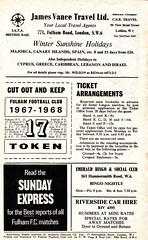 Fulham vs Coventry City - 1968 - Back Cover Page (The Sky Strikers) Tags: city one football official cottage division coventry fulham craven shilling league programme