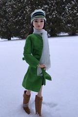 It finally snowed! (Foxy Belle) Tags: trees winter snow hat night scarf asian outside doll boots leah coat barbie style glam 2015