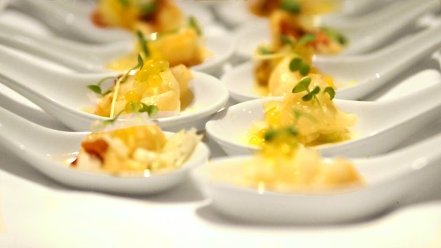 Poached butter & anise lobster with lemon pepper pearls