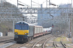 92010 Rugeley TV 08/03/16 (yamdood91) Tags: tv freight caledonian rugeley 2016 wcml trentvalley class92 92010 6x43