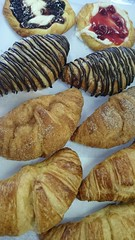 Croissants and Danishes (tasteoflovebakery) Tags: cheese cherry strawberry cream blueberry danish croissant plain bavarian churro croissants