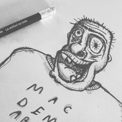 Salad days (sin*postal) Tags: white man black pencil persona salad mac days draw dibujo demarco carbonilla