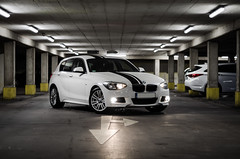 BMW 116i F20 M Sport (MSC_Photography) Tags: park white car sport underground 50mm lights 1 nikon power bokeh top stripes parking performance lot first front m bmw series hatch af nikkor f18 lichter tiefgarage streifen 116i f20 f21 118d scheinwerfer af5018d d5100 alpinweis