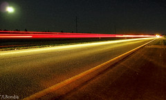 Into the Distance (JLBondia) Tags: longexposure light countryroad lighttrail