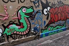 Flex + ZDey_1660 passage Boiton Paris 13 (meuh1246) Tags: streetart paris chat dragon crocodile flex animaux butteauxcailles paris13 passageboiton zdey