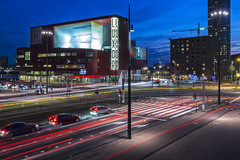 Light trails at the Wilhelminaplein (R. Engelsman) Tags: luxor wilhelminaplein rotterdam night nacht traffic verkeer auto car vehicle light road kruising intersection theater theatre trails lighttrails 010 evening city stad nederland netherlands holland outdoor rijnmond canon eos eos650d 650d roffa rotjeknor plein kopvanzuid nl