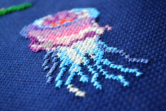 jellyfish (Pumora) Tags: fish underwater cross stitch embroidery fisch fische sticken kreuzstich