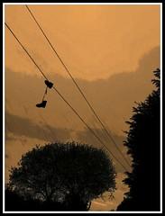 Shoes (David S. Daz) Tags: art shoes cable nike adidas colgadas zapatillas bambas costumbressanas