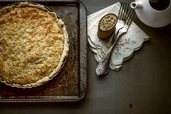coconut tart (donna leitch) Tags: contrast vintage dessert coconut rustic napkins pastry teapot forks tart tabletop foodstyling donnaleitch klappertert