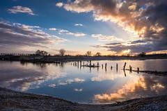 Tryggevlde  (Ulrich J) Tags: sunset sky reflection landscape denmark himmel danmark solnedgang kge vall landskab stevns spejling tryggevlde