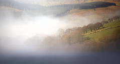 Lakeside Mist (wentloog) Tags: park uk morning blue trees sky panorama cloud mist mountain lake tree field fog wales canon river landscape outdoors eos nationalpark spring britain pano hill cymru cardiff reservoir breconbeacons caerdydd 5d brecon beacons bog powys boggy mkiii talybont wentloog stevegarrington