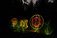 Double (~138~) Tags: longexposure light white canada lightpainting abstract black colour green art colors night ball dark fun lights cool nightlights colours bc purple awesome vancouverisland sphere dome paintingwithlight trippy streaks lightart 138 lightpaint singleexposure gowlandtodd