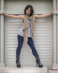 Ilyana - (3) (FightGuy Photography) Tags: scarf boots jeans tanktop heels shorthair brunette ilyana stuntwoman