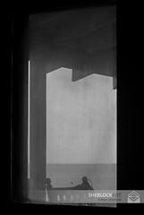 Screen Door- Pawleys Island, 2013 (Alan Sherlock) Tags: sea blackandwhite bw water monochrome bug blackwhite droplets chair horizon screen dew