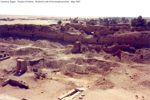 Temple of Hathor.  Mudbrick wall of the temple precinct.