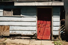 Springport, MI: Red Devil Door (davelawrence8) Tags: door usa building abandoned rural 50mm spring shadows michigan 5d smalltown ruralamerica 2015 springport vsco