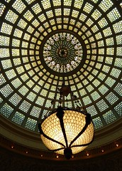 Chicago, Chicago Cultural Center, Preston Bradley Hall, Tiffany Dome and Lamp (Mary Warren (6.7+ Million Views)) Tags: chicago building glass lamp architecture circle stainedglass dome round chicagoculturalcenter louiscomforttiffany