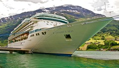 """Royal Caribbean """"Legend of the Seas"""" at Olden (somabiswas) Tags: cruise sea mountains norway ferry river landscape ship royalcaribbean fjords olden legendoftheseas"""