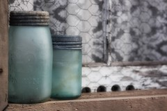 frosted glass (s@ssyl@ssy) Tags: cold window vintage lace ledge crown jars frosted windowsil