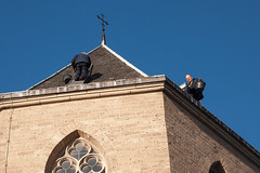 Workmen on the roof of Pieterskerk (natures-pencil) Tags: roof people church netherlands architecture workers utrecht arch religion nederland maintenance slate kirk pieterskerkhof tradesmen pieterskerk buildinglovelycity
