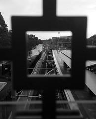IMG_3104 Red Light 20160105 (Abhiks) Tags: white black colour station train dof railway desaturation partial 2006365 2016366