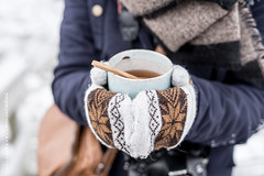 With a cup of tea in your hands anything is possible... (CarolienCadoni..) Tags: blue winter snow cold netherlands photography hands warm dof bokeh january nederland gloves drenthe 50mmf14 sal50f14 nieuwbuinen sonyslta99