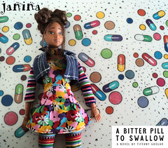 Janina - floral dress - white bg title- web (missdesigndiva) Tags: flower floral illustration colorful stripes barbie retro daisy denim liv vest boho fashiondoll 90s choker leggings repaint