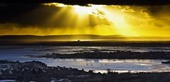 Solent Gold (Solent Poster) Tags: uk seascape castle landscape gold golden pentax harbour hill january hampshire solent portsmouth isle wight k3 gosport portchester 2016 portsdown 1685mm