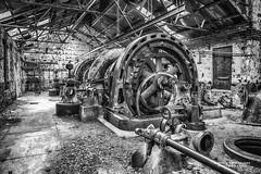 Powerhouse Turbines-Generators LR B&W- (R. Kent Squires) Tags: generators electricity turbines hydropower dilapidatedpowerhouse