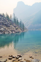 Ghost (Julie Tao) Tags: trees mountain lake canada reflection water vertical forest landscape view alberta moraine lakemoraine nikond5100