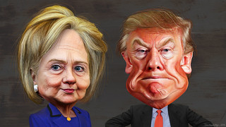 Hillary Clinton and Donald Trump - Caricatures