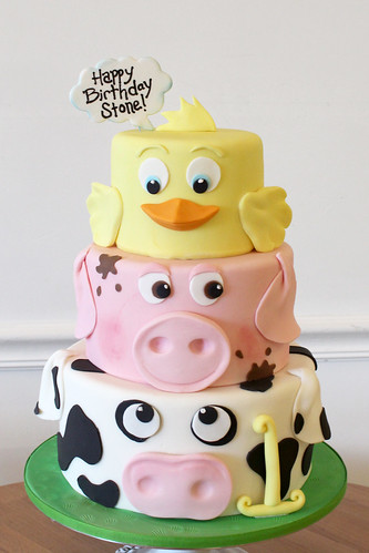 Farm Animal Faces Birthday Cake