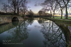 Encore un matin (jerrykiesewetter) Tags: bridge blue trees sky france reflection water sunrise river canal du midi aude languedocroussillon