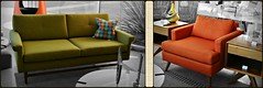 My Birthday is in June... (blamstur) Tags: california orange green modern chair furniture palmsprings sofa midcenturymodern selectivecoloring
