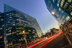 """Variations europennes  lheure bleue #1"" (Thierry Hudsyn) Tags: longexposure urban architecture reflections lighttrails bluehour tilt reflets heurebleue canon6d ef1635mmf4lisusm"