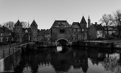 barbarians at the gate - tribute to Rondat (al3x!s) Tags: city travel bridge urban blackandwhite bw white black color reflection building tree window nature water netherlands architecture outside grey town canal photo nikon utrecht gray oldtown amersfoort brik anthropic