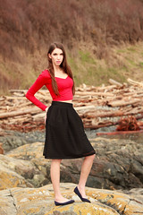 Jessica on the Rocks (Stuart MacNeil) Tags: red people woman white canada cute sexy nature girl beautiful beauty fashion outside photography log model women pretty bc dress modeling outdoor style skirt columbia victoria british brunette backtonature phootshoot