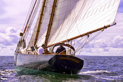 Tacking Starboard (joegeraci364) Tags: ocean new wood sea england sky cloud seascape heritage beach nature water beauty weather sailboat race landscape outdoors coast boat marine ship action yacht outdoor antique connecticut craft wave vessel atlantic shore maritime boating sail mast nautical schooner mystic