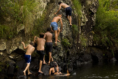 Kids at the Swimming Hole 22 (ArdieBeaPhotography) Tags: boy water forest swim river fun climb kid jump bush child play cloudy dive stony maori swimsuit leap throw togs pakeha