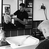 blond mirror (Dandy Snapper) Tags: portrait blackandwhite bw portraits barber hairdresser job hairdressers profession skill babers