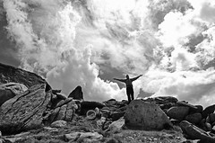 In the sky. (LukeHennessy) Tags: park portrait sky white snow black mountains clouds self nikon snowy luke mount national kosciuszko monocrome hennessy d7000 townswend