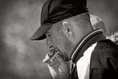 The smoker (Ingunn Eriksen) Tags: portrait blackandwhite man monochrome mono smoking portraiture sigarette