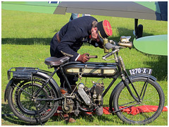 Panne sche..... (Aerofossile2012) Tags: soldier uniform airshow moto motorcycle lafert pilot reenactor soldat uniforme pilote terrot cerny