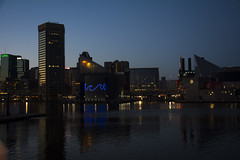 Baltimore (StephenChaotic) Tags: blue sky water skyline night buildings reflections evening harbor md maryland baltimore inner wate