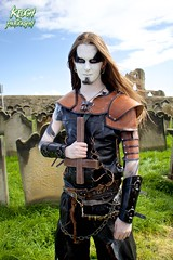 IMG_9400 (Neil Keogh Photography) Tags: red brown white black abbey graveyard leather silver cross gothic goth blouse crucifix axe trousers warrior facepaint viking armour gravestones waistcoat steampunk whitbyabbey whitbygothweekend armguards shoulderguards april2016