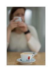 coffee moment (Istvan Penzes) Tags: availablelight cappuccino manualfocus hausbrandt leicasummilux75mm leicam9 penzes