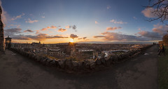 Calton Hill - Panoramic View (Kyoshi Masamune) Tags: uk sunset panorama clouds scotland edinburgh edinburghcastle wideangle forth newtown oldtown balmoralhotel 180 caltonhill hdr highdynamicrange cloudscape firth firthofforth ultrawideangle dugaldstewartmonument citypanorama scottishcastle cokinfilters cokinnd8 balmoralclock kyoshimasamune