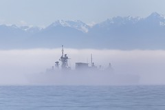 Ghost Ship v. 2 (Paul Rioux) Tags: fog sailboat boat ship outdoor military navy vessel eerie victoria frigate naval royalroads ghostship canadianforces royalcanadiannavy hmcsottawa prioux